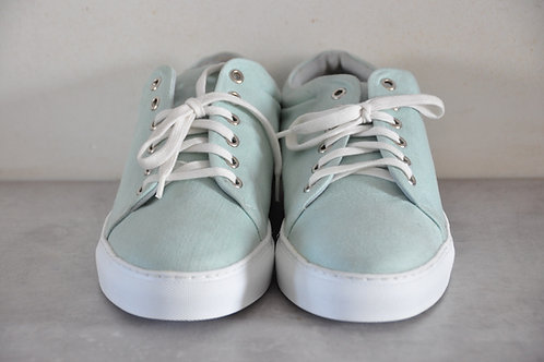 Sneaker, witte zool, light blue/green