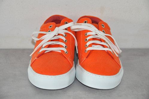 Sneaker, witte zool, orange