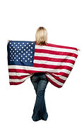 A beautiful young woman holding an American flag..jpg