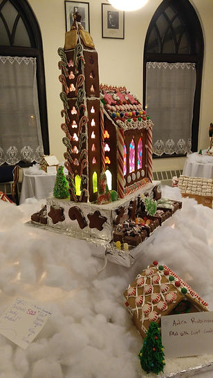 Our beautiful gingerbread houses and church!