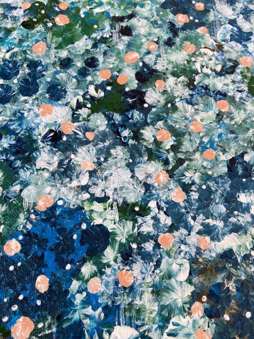Deep blue meadow close up