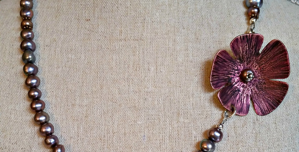 Viola ~ Copper flower necklace with freshwater pearls.