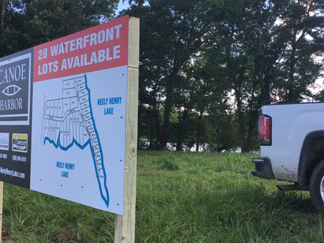 New lakefront sign at Canoe Harbor. Easy to locate by water now.