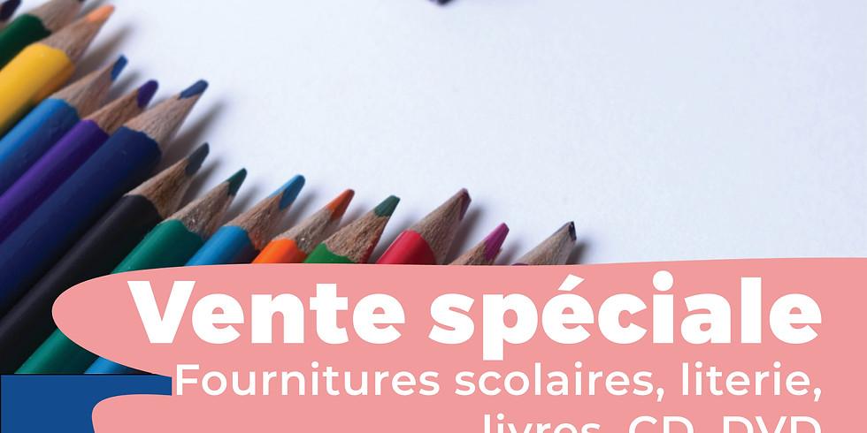 Vente spéciale de rentrée : literie / fournitures scolaires / livres / CD / DVD