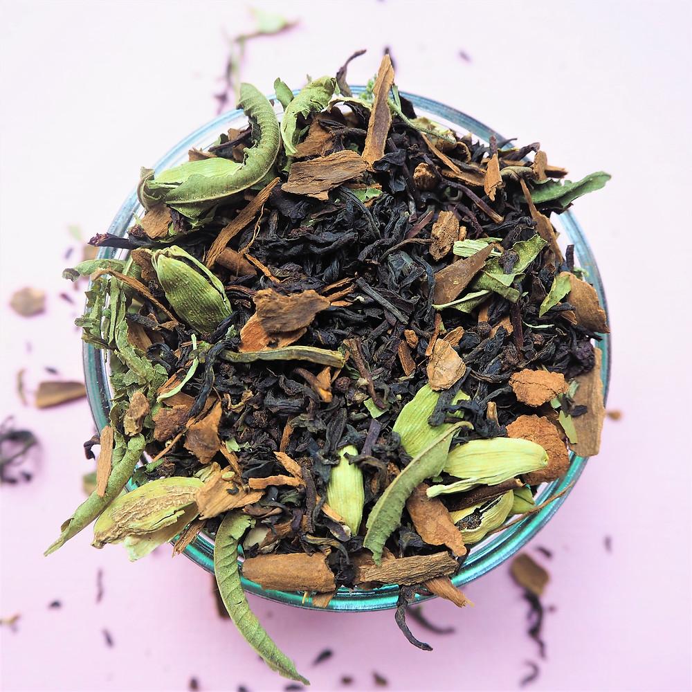 Our blend includes black tea, cinnamon, cardamon and lemon verbena