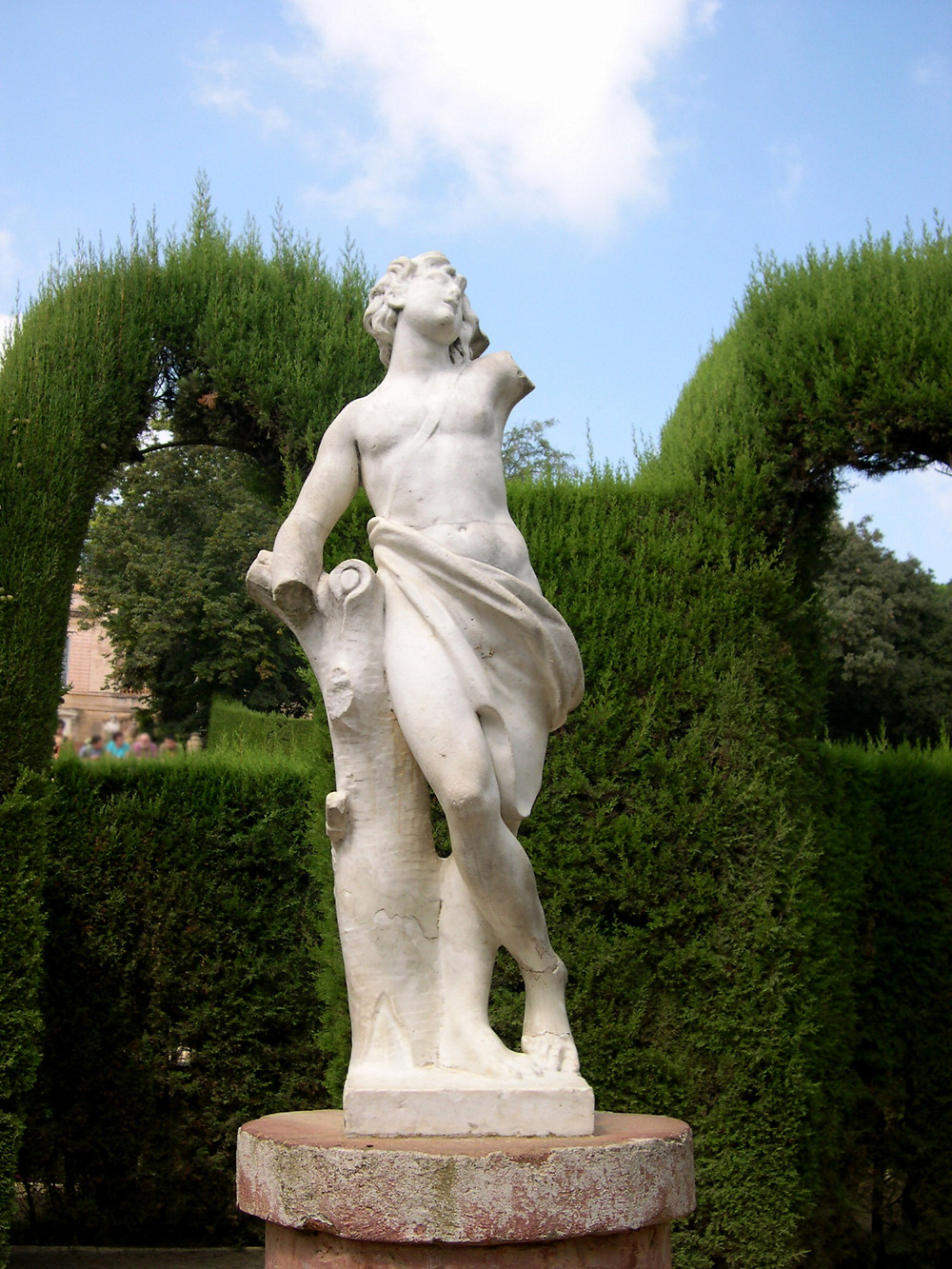 A statue of Eros the God of Love in Park of the Labyrinth of Horta