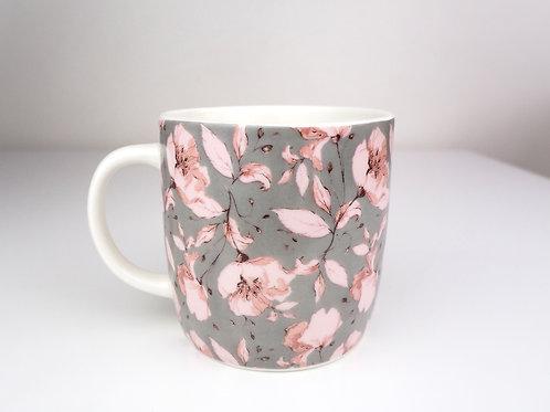 Grey Floral Mugs & Kisses Gift