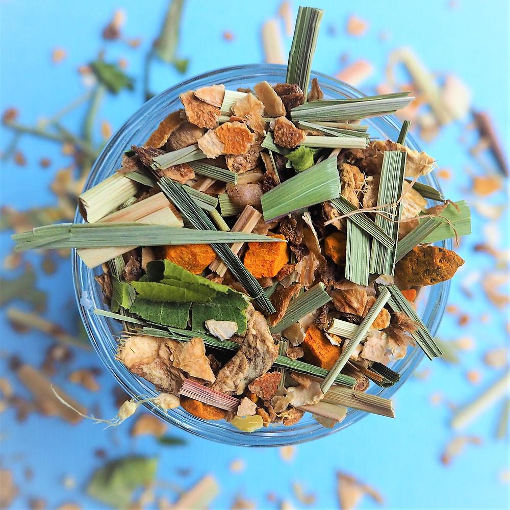 Organic Georgian Glow herbal tea with ginger, lemongrass, lime, turmeric