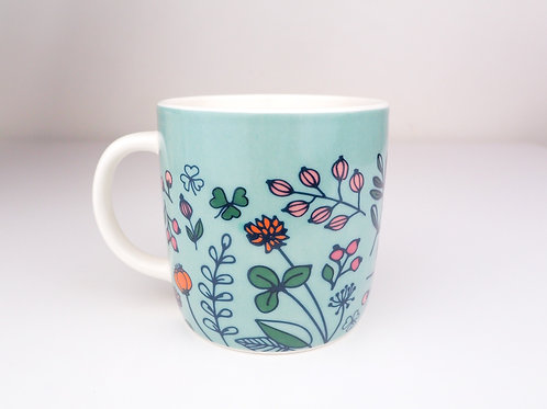 Green Floral Mugs & Kisses