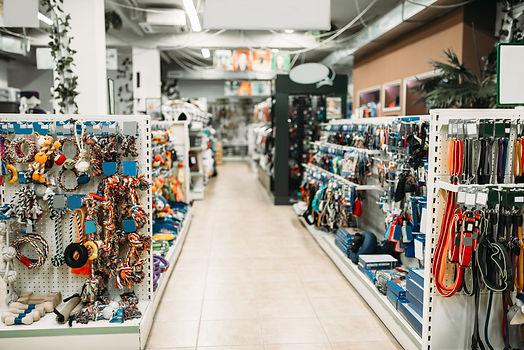 Pet shop interior, shelves with accessor