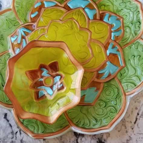 53. Painted Glass Chip and Dip Set
