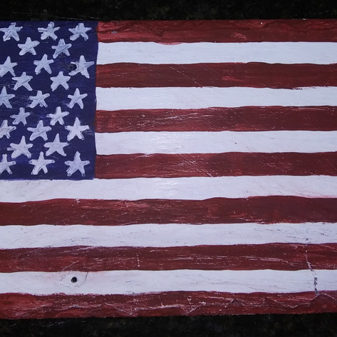17. Hand-Painted Roofing Slate Flag