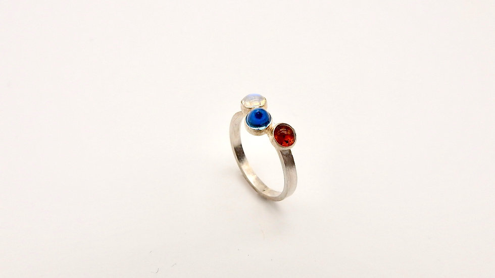 Silver Ring with colourful gemstones