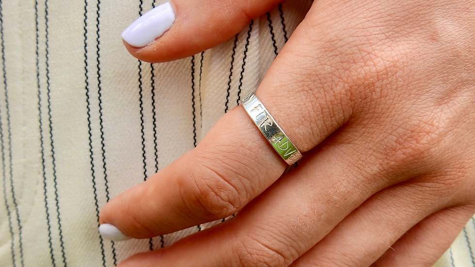 Silver Ring with slogan