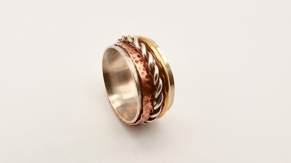Silver, Copper and Brass Spinner Ring