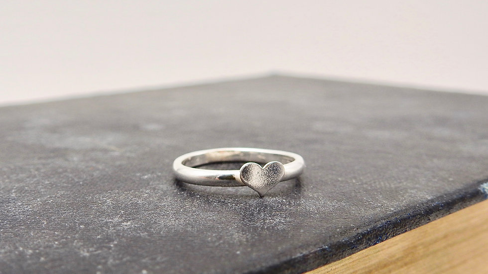 Silver Wide Heart Ring