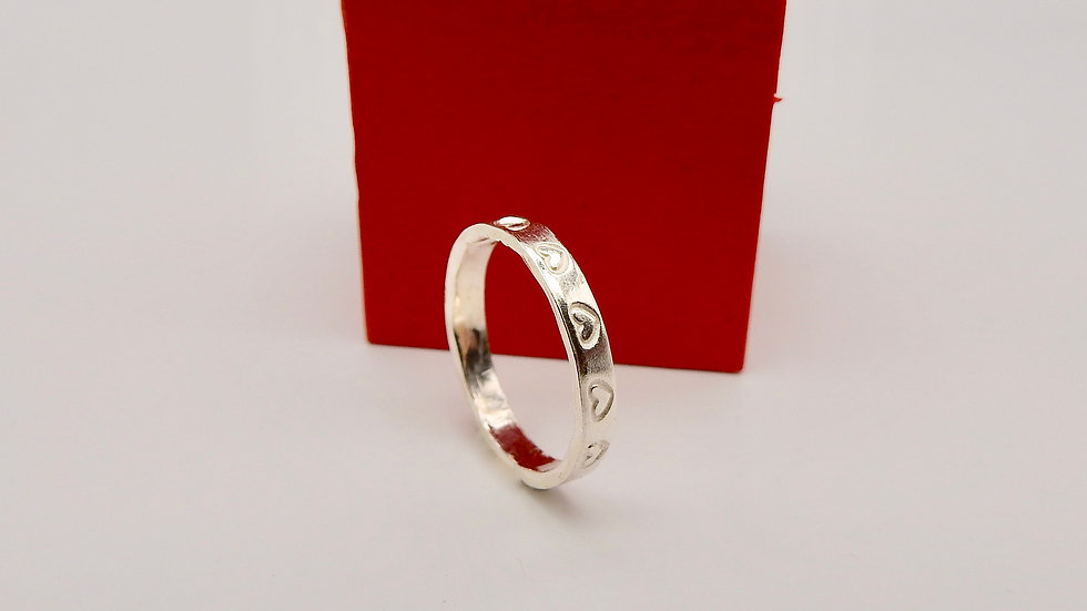 Silver Ring with heart stamps