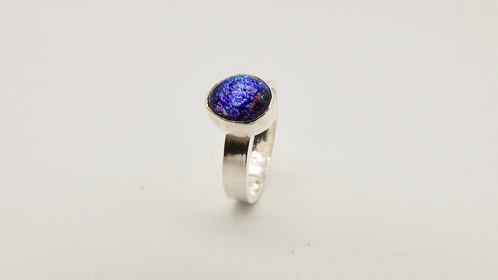 Electric Blue Dichroic glass in Silver Ring
