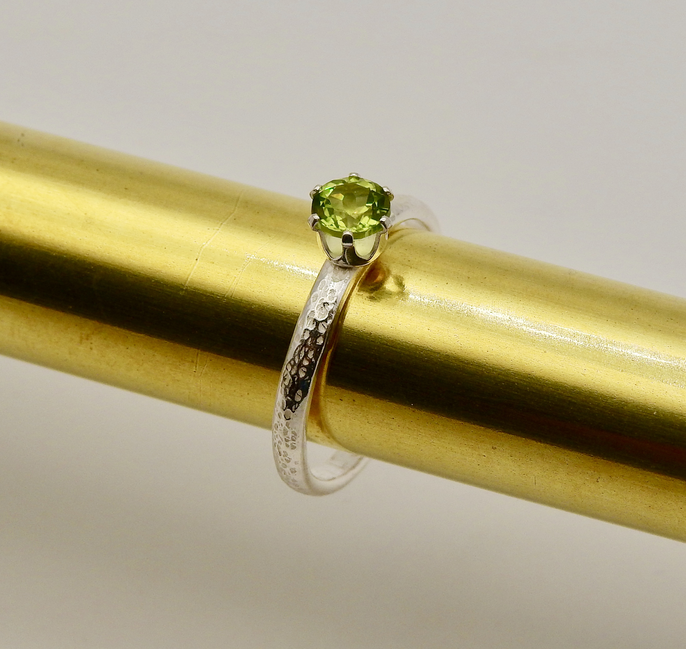 Silver Ring with Green Amethyst