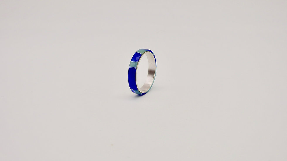 Blue Resin Silver Ring