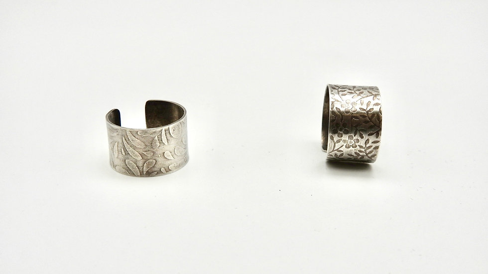 Sterling Silver Open Ring with floral pattern