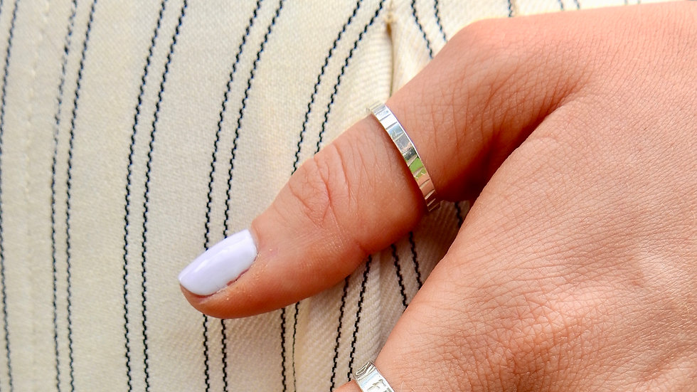 Silver Hammered Stripes Ring