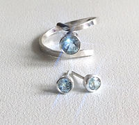 Pale blue Sapphire Earrings and Ring .jp