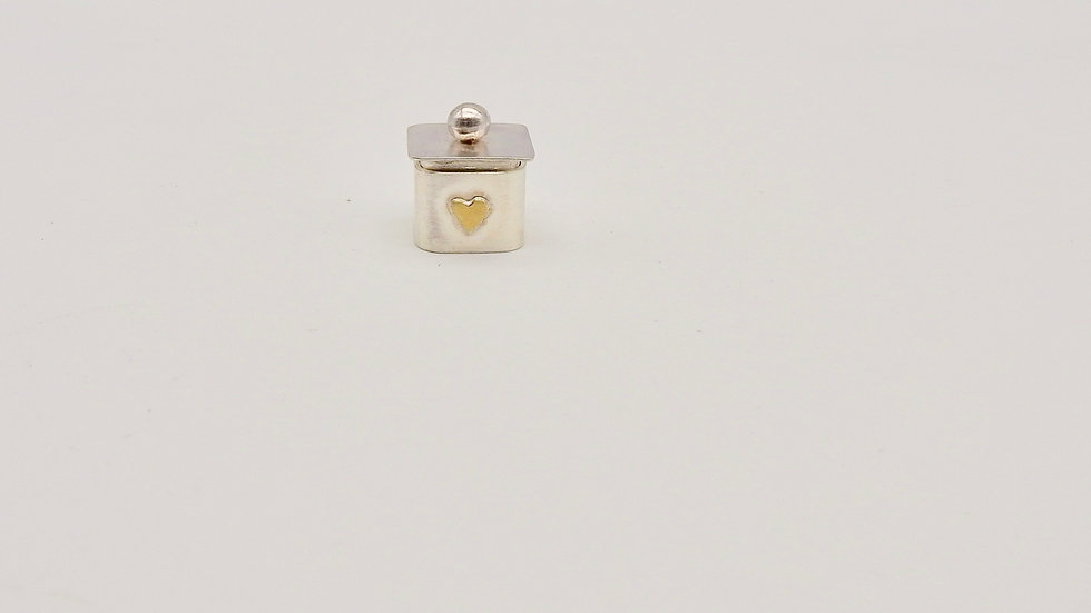 Tiny Silver Box with brass Heart
