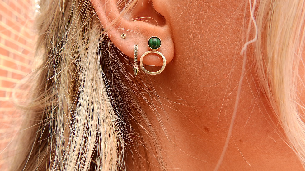 Gold Malachite Earrings with Hoop