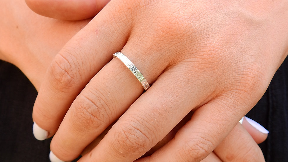 Silver Ring with stamped design