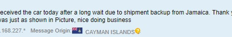 Feedback from CAYMAN ISLANDS