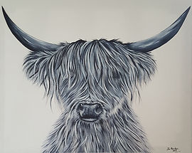Black and white Highland cow painting A2