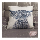 Highland cow cushion with watermark B&W.