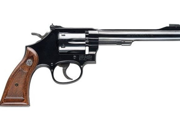"S&W 17 CLASSIC .22LR 6"" AS BLUED CHECKERED WOOD GRIPS"