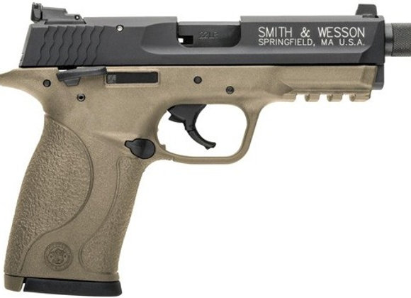 "S&W M&P22 COMPACT .22LR 3.56"" AS 10-SHOT MATTE FDE THREADED"