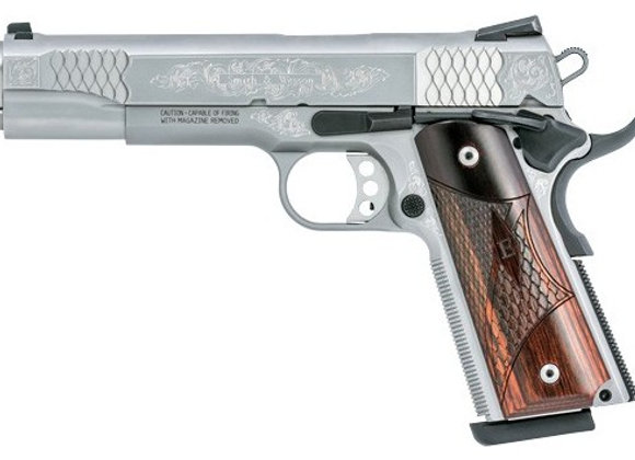 "S&W 1911 ES .45ACP 5"" FS 8-SHOT MACHINED ENGRAVED W/CAS"