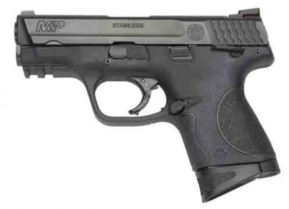 "S&W M&P40C .40SW 3.5"" FS 10-SH W/SAFETY BLK SS/BLACK POLYMER"