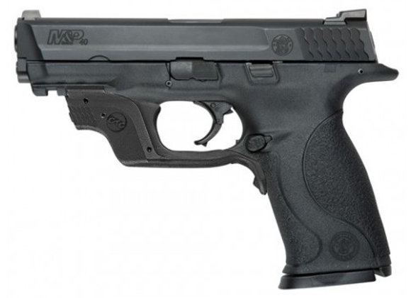 "S&W M&P40 .40SW FS 15-SH BLACK 4.25"" W/GREEN CTC LASER"