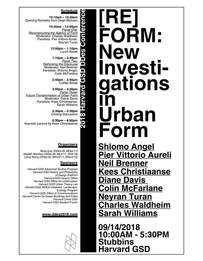 """GSD DDes Conference """"[Re]FORM: New Investigations in Urban Form"""" is to be Held on September 14, 2018"""