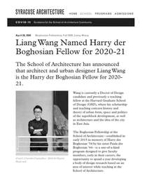 Liang Wang Named Harry der Boghosian Fellow for 2020-21 at the Syracuse University School of Architecture