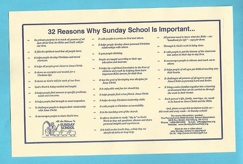 """32 Reasons Why Sunday School Is Important"" Placemats (25 Pack)"