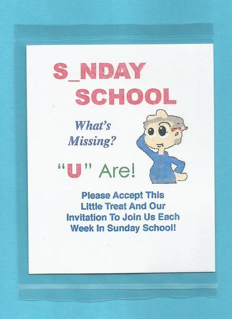 """S_NDAY SCHOOL…What's Missing?"" Little Treat Message Packs"