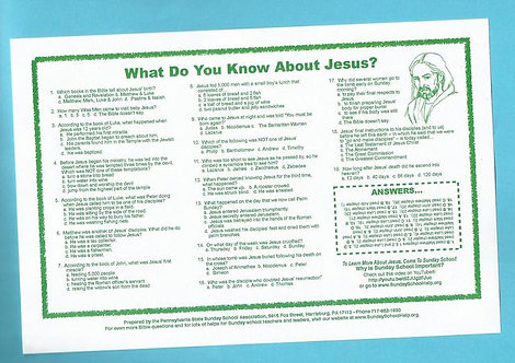 """What Do You Know About Jesus?"" Placemats (25 Pack)"