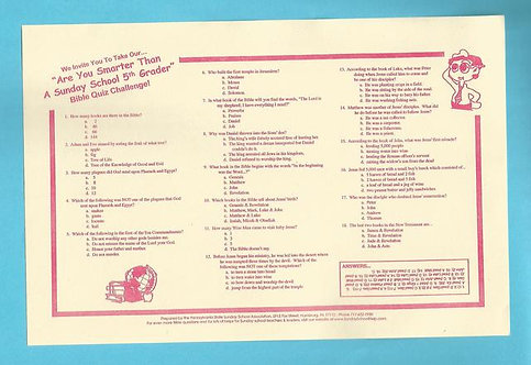 """Are You Smarter Than A Sunday School 5th Grader? Bible Quiz Placemats (25 Pack)"