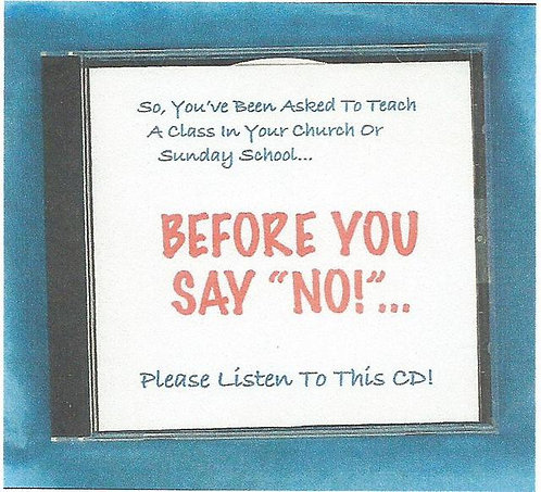 """Before You Say No"" CD"