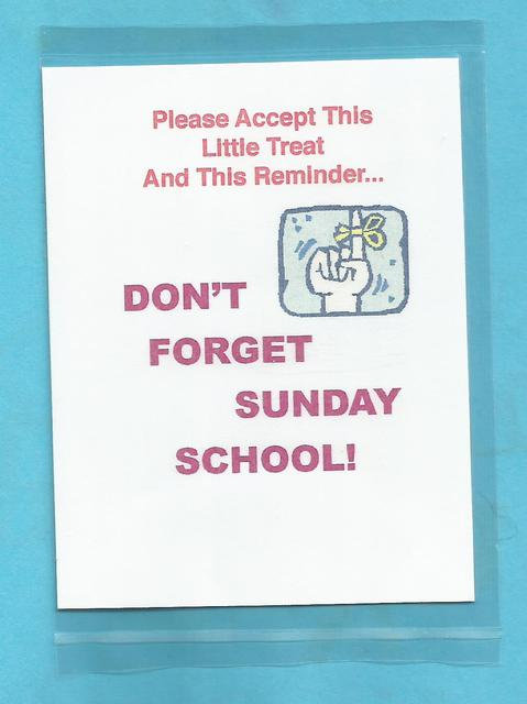 """Don't Forget Sunday School"" Little Treat Message Packs"