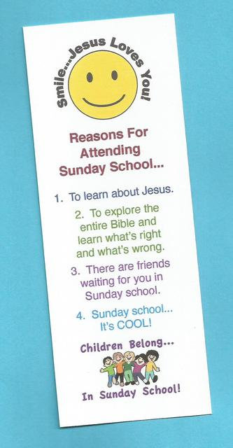 """""""'Smile…Jesus Loves You' Reasons for Attending Sunday School"""" Laminated Bookmark"""