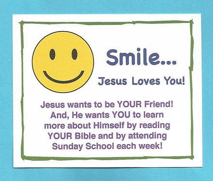 """Smile…Jesus Loves You"" Laminated Card Magnet"
