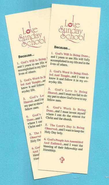 """I Love Sunday School"" Card Bookmark"