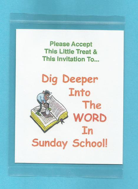 """Dig Deeper Into The Word In Sunday School"" Little Treat Message Packs"